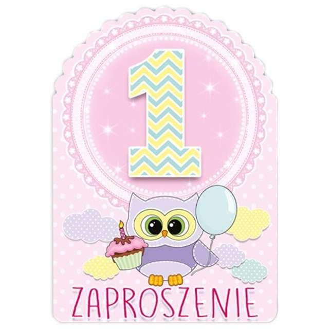 """Zaproszenia urodzinowe """"Urodziny 1 sówki różowe"""", 10 szt"""