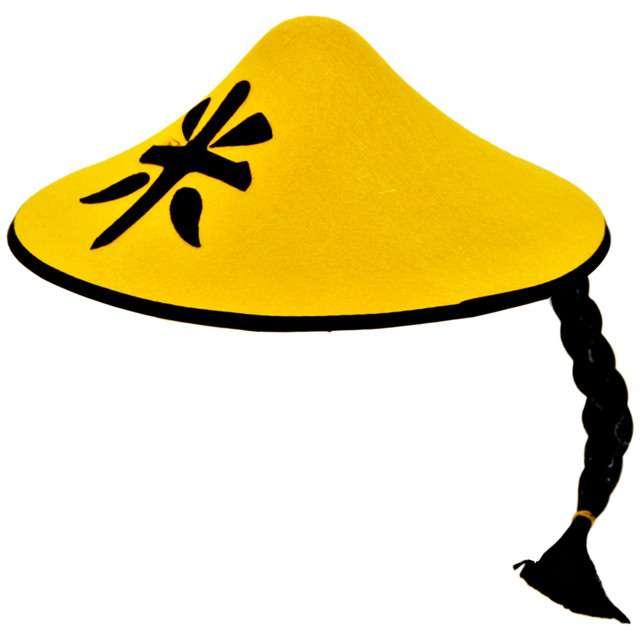 """Kapelusz """"Chińczyk z włosami"""", żółty, FOLAT"""