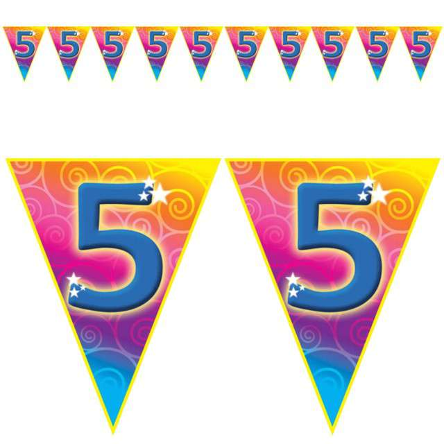 "Baner flagi ""Urodziny 5 Rainbow Swirl"", Funny Fashion, 5 m"