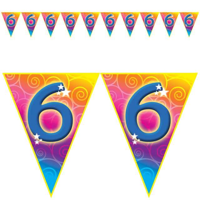"Baner flagi ""Urodziny 6 Rainbow Swirl"", Funny Fashion, 5 m"