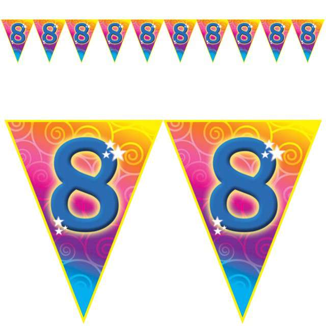 "Baner flagi ""Urodziny 8 Rainbow Swirl"", Funny Fashion, 5 m"