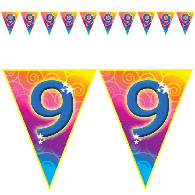 "Baner flagi ""Urodziny 9 Rainbow Swirl"", Funny Fashion, 5 m"
