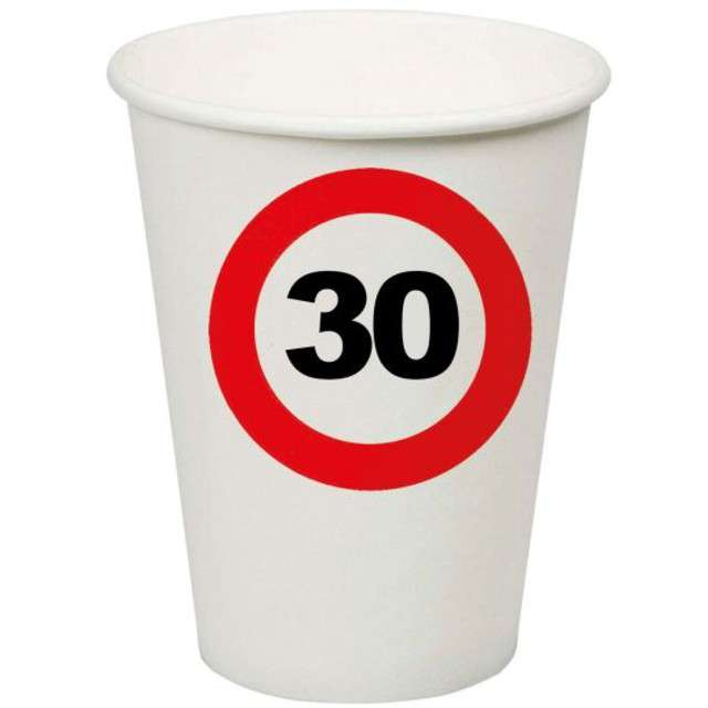 "Kubeczki papierowe ""30 Traffic Birthday"", Funny Fashion, 200 ml, 8 szt"