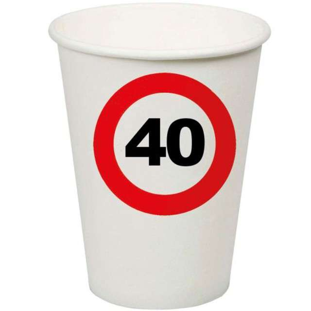 "Kubeczki papierowe ""40 Traffic Birthday"", Funny Fashion, 200 ml, 8 szt"