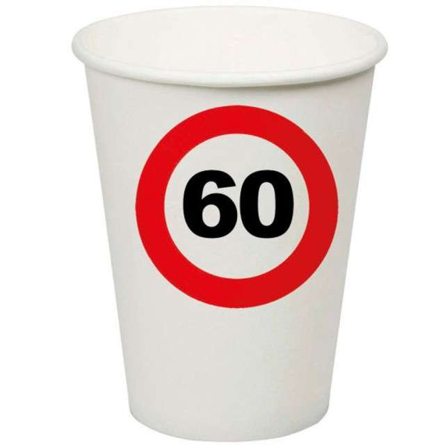 "Kubeczki papierowe ""60 Traffic Birthday"", Funny Fashion, 200 ml, 8 szt"