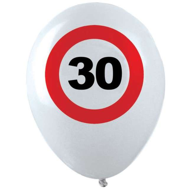 "Balony ""30 Traffic Birthday"", pastel mix, FUNNY FASHION, 12"", 12 szt"