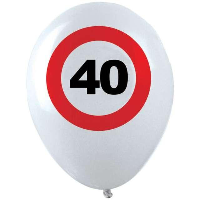 """Balony """"40 Traffic Birthday"""", pastel mix, FUNNY FASHION, 12"""", 12 szt"""