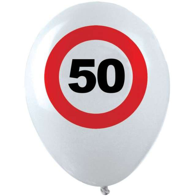 "Balony ""50 Traffic Birthday"", pastel mix, FUNNY FASHION, 12"", 12 szt"