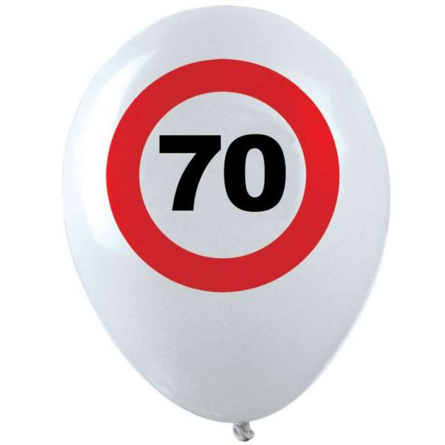 "Balony ""70 Traffic Birthday"", pastel mix, FUNNY FASHION, 12"", 12 szt"