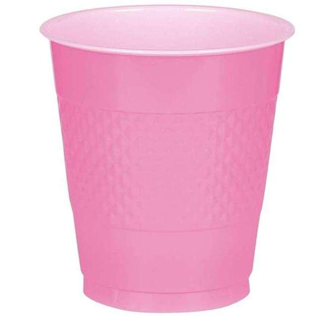"""Kubeczki plastikowe """"Diamond"""", AMSCAN, 355 ml, różowe, 20 szt"""
