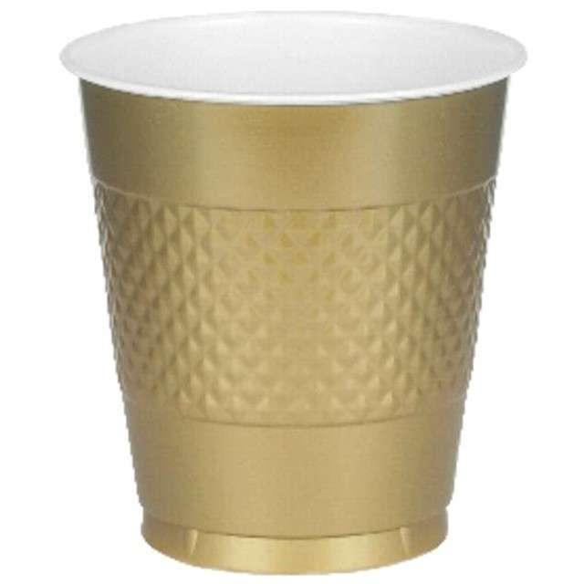 """Kubeczki plastikowe """"Diamond"""", AMSCAN, 355 ml, złote, 20 szt"""