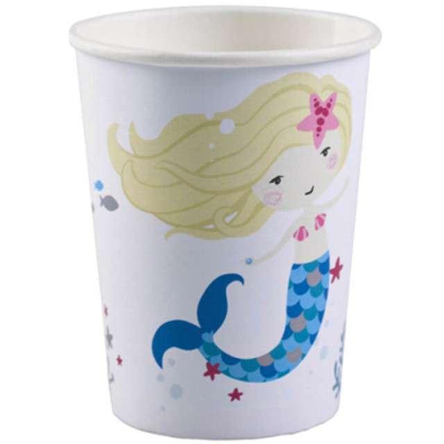 """Kubeczki papierowe """"Syrenka - Be a mermaid"""", białe, AMSCAN, 250 ml, 8 szt"""