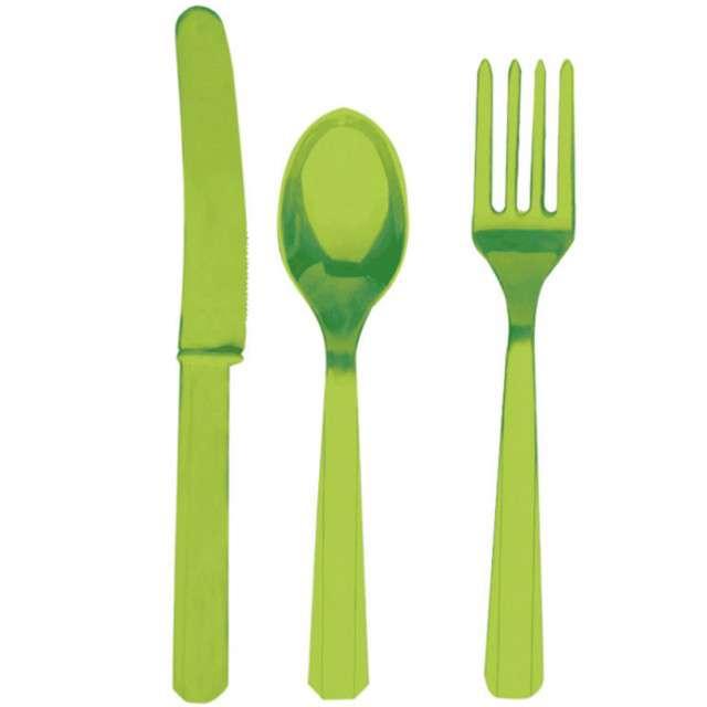Sztućce plastikowe, zestaw, AMSCAN, zielone, 24 szt