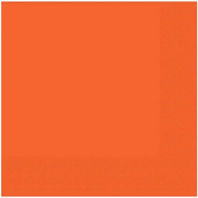 """Serwetki """"Gładkie"""", pomarańczowe, AMSCAN, 25 cm, 20 szt"""