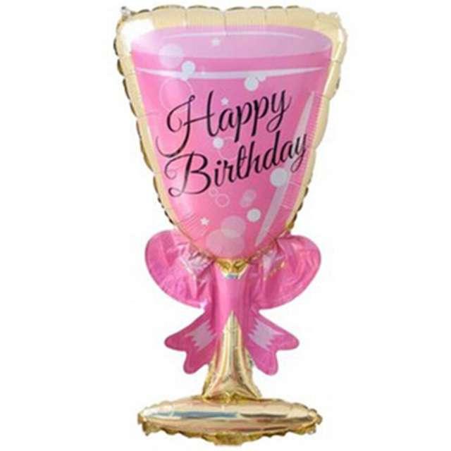 """Balon foliowy """"Kieliszek - Happy Birthday"""", różowy, OEM, 36"""""""