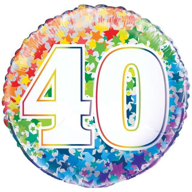 Balon foliowy 40 Urodziny - Rainbow UNIQUE 18 CIR