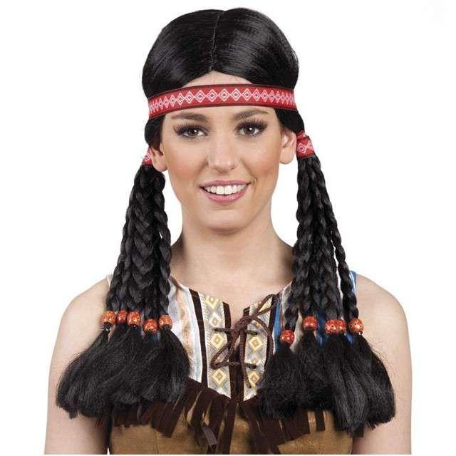 """Peruka party """"Amerykańska Indianka z warkoczykami"""", BOLAND"""
