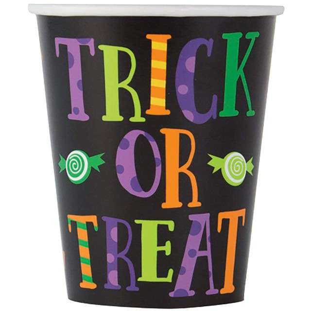 "Kubeczki papierowe ""Trick or Treat"", UNIQUE, 266 ml, 8 szt"