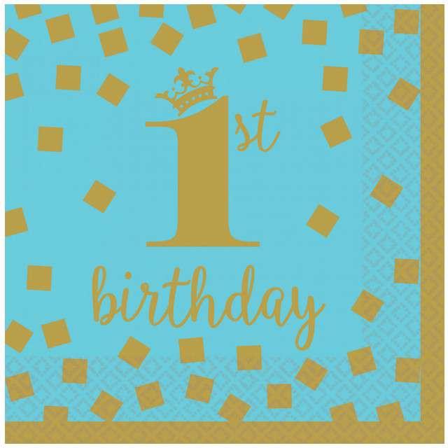 """Serwetki """"1st Birthday - Urodziny"""", niebieskie, AMSCAN, 25 cm, 16 szt"""