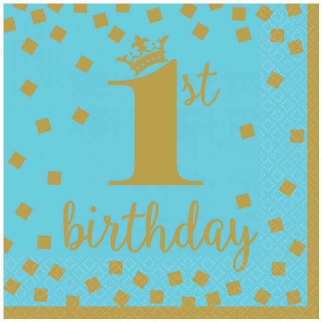 """Serwetki """"1st Birthday - Urodziny"""", niebieskie, AMSCAN, 33 cm, 16 szt"""