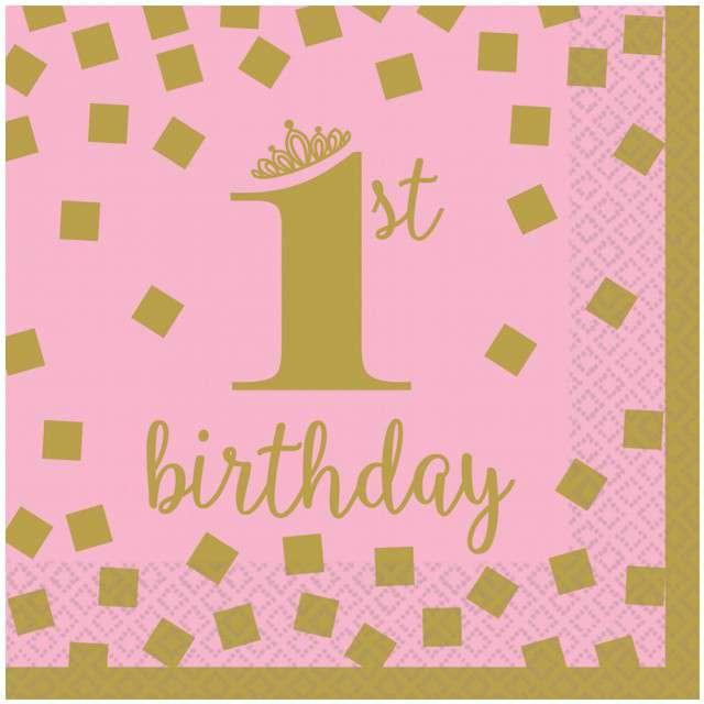 """Serwetki """"1st Birthday - Urodziny"""", różowe, AMSCAN, 25 cm, 16 szt"""