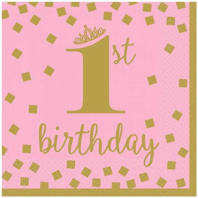 """Serwetki """"1st Birthday - Urodziny"""", różowe, AMSCAN, 33 cm, 16 szt"""