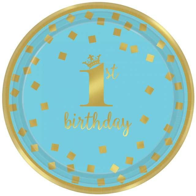 """Talerzyki papierowe """"1st Birthday - Urodziny"""", niebieskie, AMSCAN, 18 cm, 8 szt"""