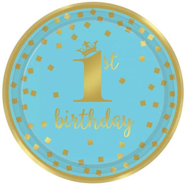 """Talerzyki papierowe """"1st Birthday - Urodziny"""", niebieskie, AMSCAN, 23 cm, 8 szt"""