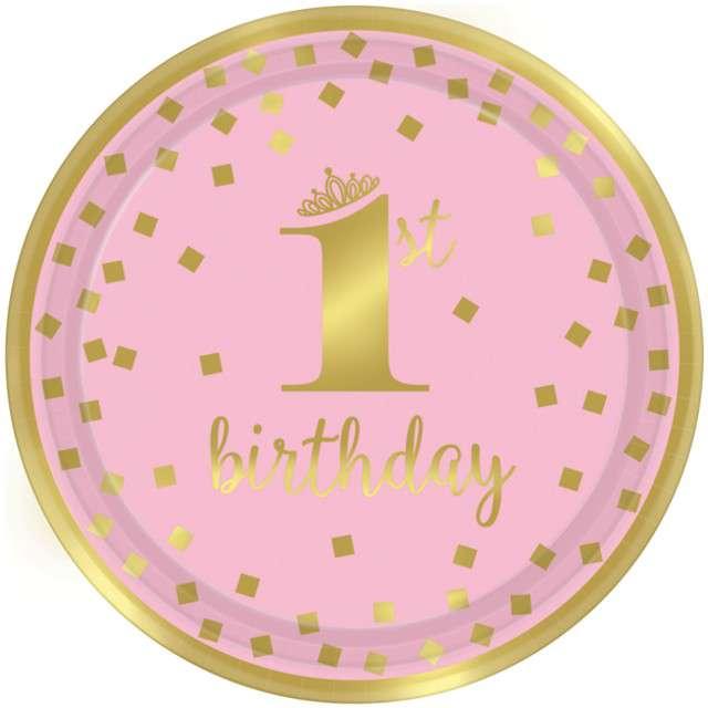"""Talerzyki papierowe """"1st Birthday - Urodziny"""", różowe, AMSCAN, 23 cm, 8 szt"""