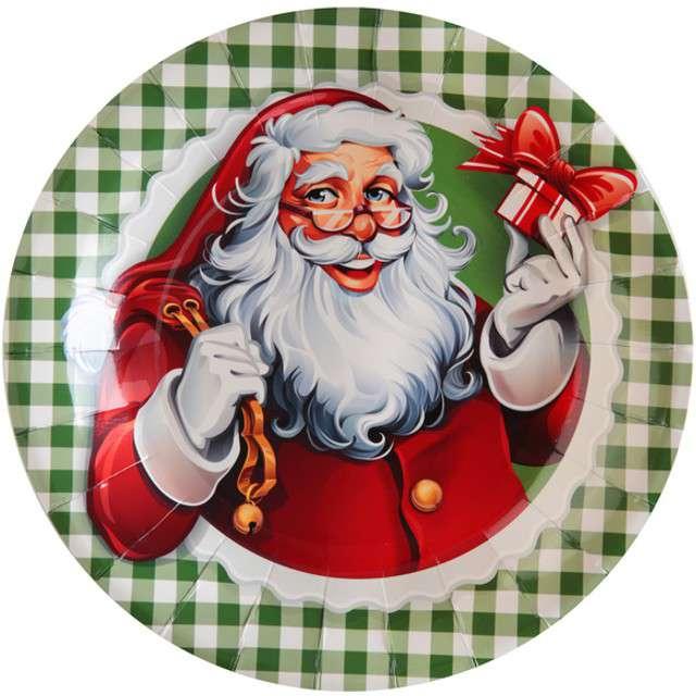 """Talerzyki papierowe """"Święty Mikołaj"""", SANTEX, 23 cm, 10 szt"""