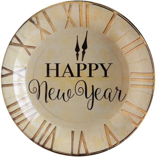 """Talerzyki papierowe """"Happy New Year"""", SANTEX, 23 cm, 10 szt"""