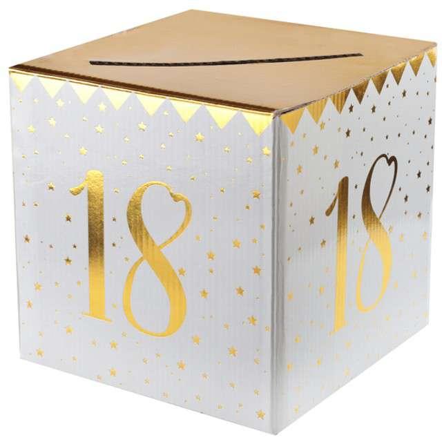 """Pudełko na koperty """"18 Urodziny"""", SANTEX, złote metaliczne"""