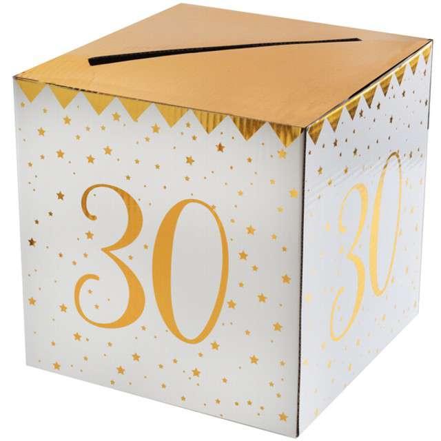 """Pudełko na koperty """"30 Urodziny"""", SANTEX, złote metaliczne"""