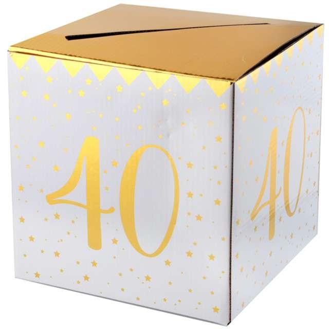 """Pudełko na koperty """"40 Urodziny"""", SANTEX, złote metaliczne"""