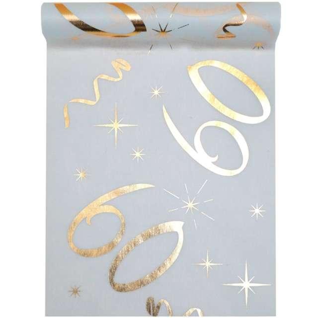 """Bieżnik """"60 urodziny - złote, biały"""", SANTEX, 500 x 30 cm"""