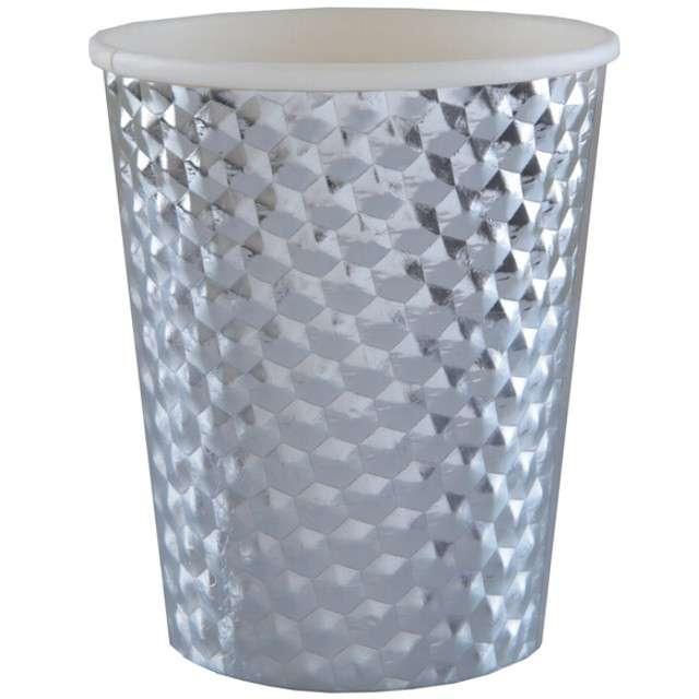 """Kubeczki papierowe """"Diament"""", srebrne metaliczne, SANTEX, 250 ml, 10 szt"""