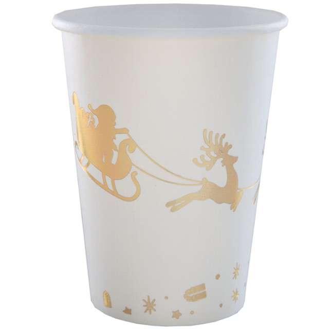 """Kubeczki papierowe """"Sanie Świętego Mikołaja"""", złote, SANTEX, 250 ml, 10 szt"""