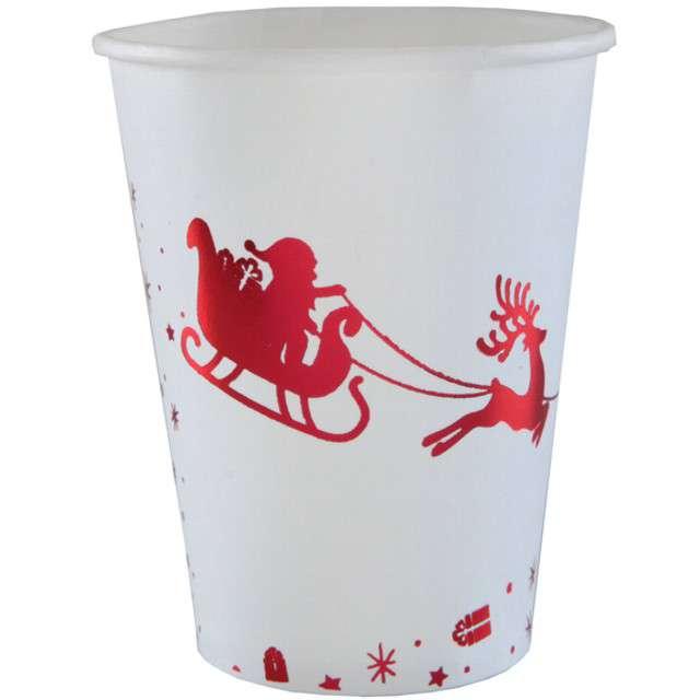 """Kubeczki papierowe """"Sanie Świętego Mikołaja"""", SANTEX, 250 ml, 10 szt"""