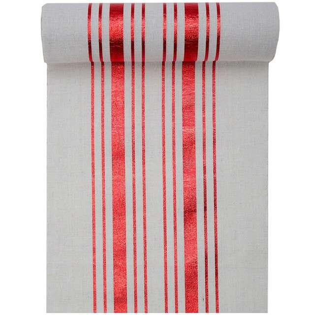 """Bieżnik """"Metaliczne Paski - czerwone"""", biały, SANTEX, 300 x 28 cm"""