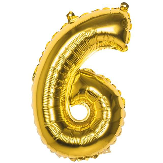 """Balon foliowy cyfra 6, 14"""", BOLAND, złota"""