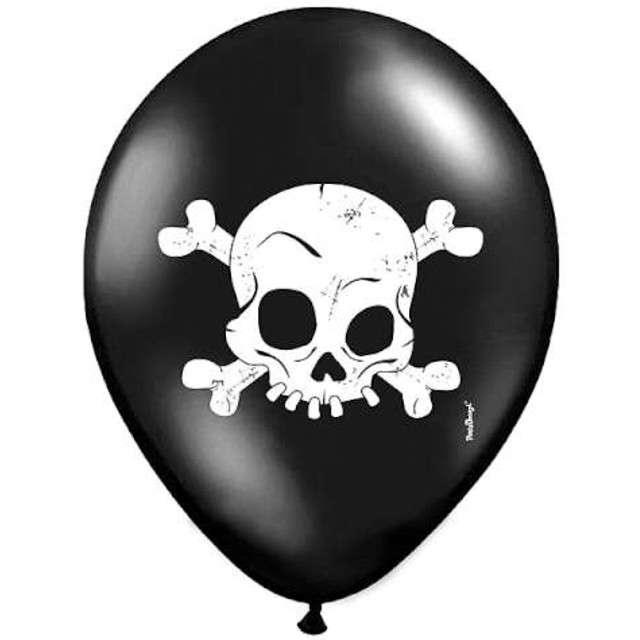 """Balony 14"""", """"Czaszka"""", czarne pastel, 6 szt"""