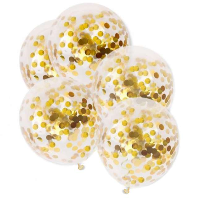 """Balony z konfetti """"Classic"""", złote, DekoracjePolska, 12"""", 5 szt."""