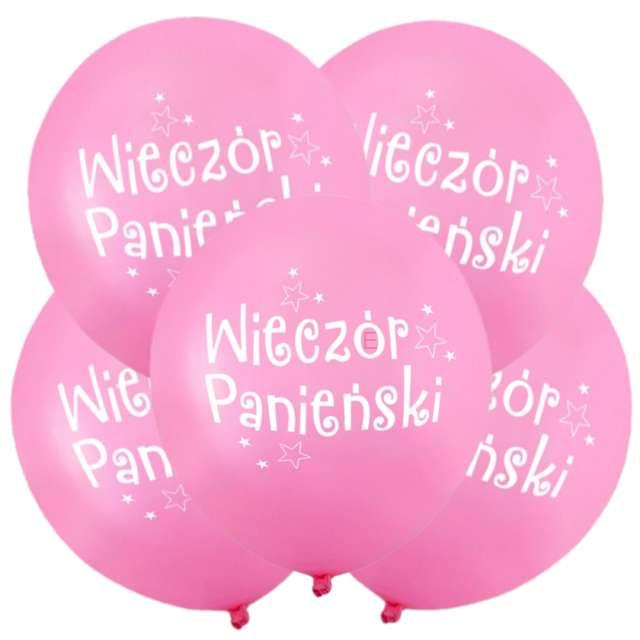 """Balony """"Wieczór Panieński"""", 12"""", różowe, 5 szt"""