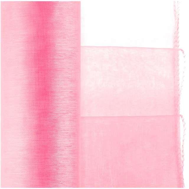 """Organza """"Classic Obszywana"""", Różowy jasny, PartyDeco, 38 x 900 cm"""