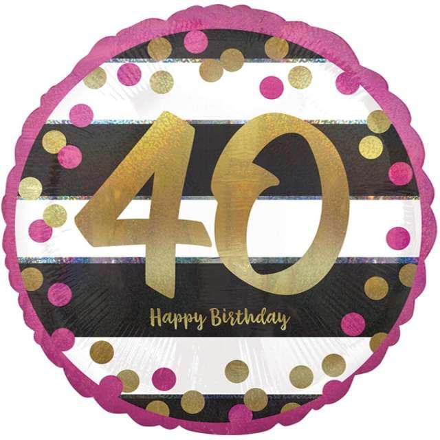 """Balon foliowy """"40 Urodziny - Milestone"""", AMSCAN, 17"""" CIR"""