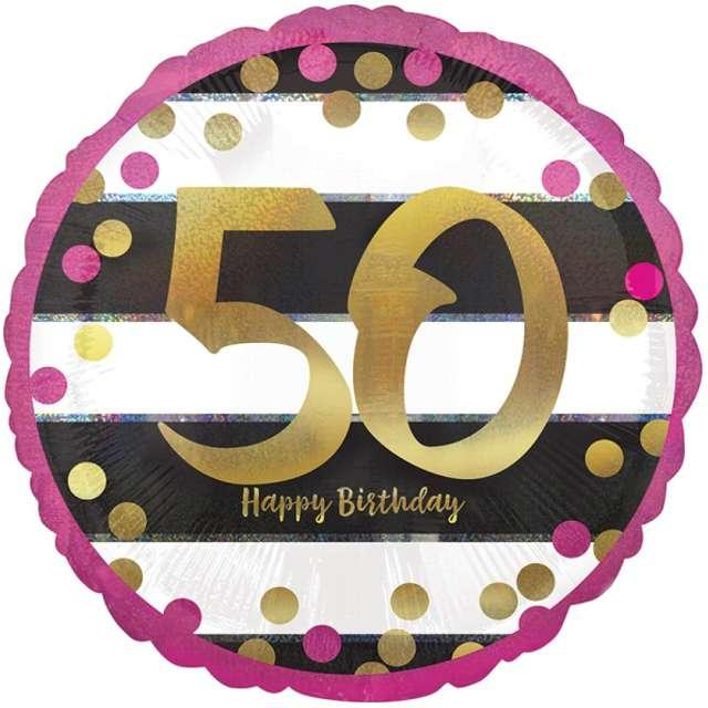 """Balon foliowy """"50 Urodziny - Milestone"""", AMSCAN, 17"""" CIR"""