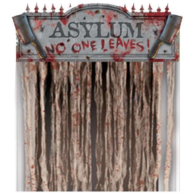 """Kurtyna na drzwi """"Horror Asylum - No one leaves"""", 140 x 96 cm"""