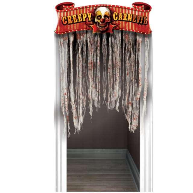 """Kurtyna na drzwi """"Horror Przerażający Cyrk"""", AMSCAN, 137 x 96 cm"""