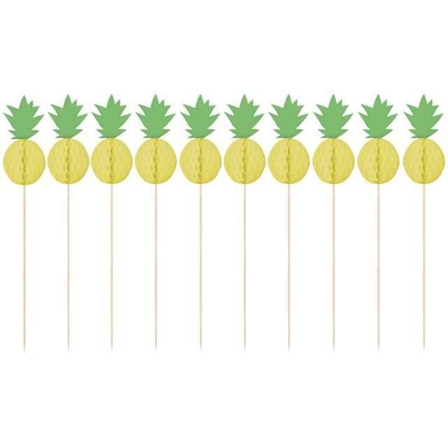 "Szpilki drewniane ""Ananas"", AMSCAN, 10 szt"