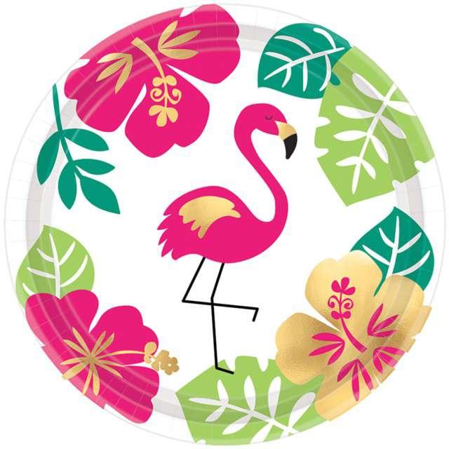 """Talerzyki papierowe """"Aloha - Flaming"""", AMSCAN, 18 cm, 8 szt"""